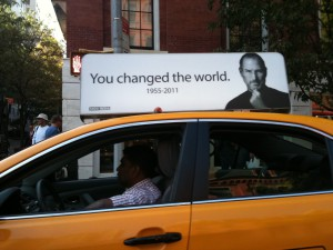 Steve Jobs sign in cabs - NYC Oct/2011